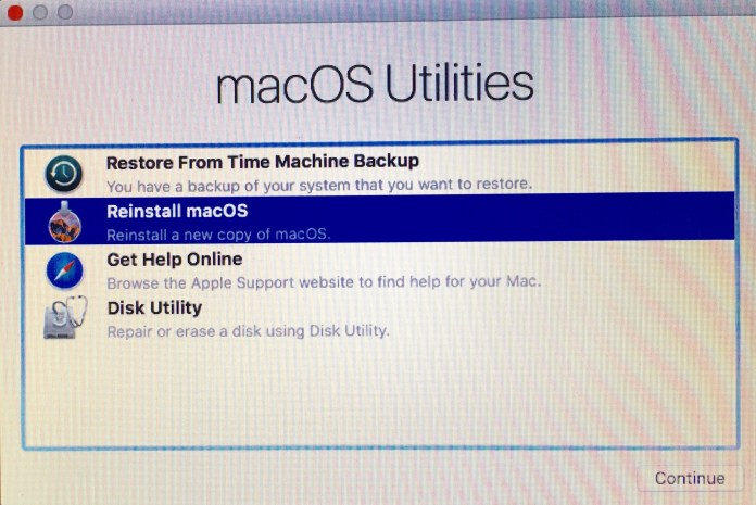Reinstalling the Mac operating system