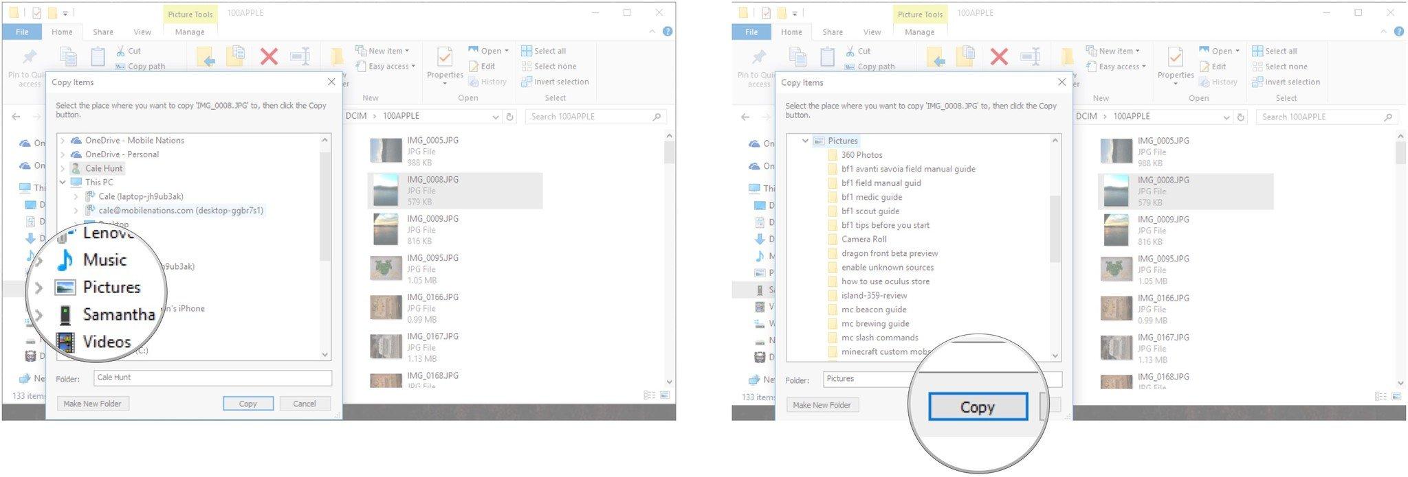 small resolution of click a folder click copy