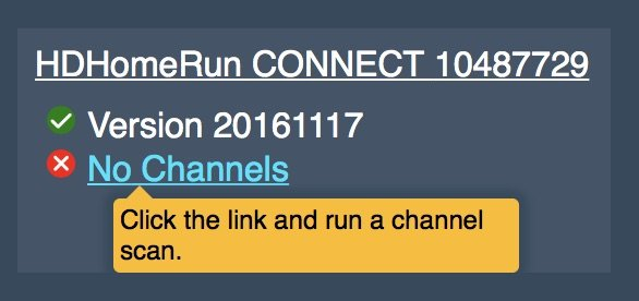 Scan for channels on myhdhomerun.com