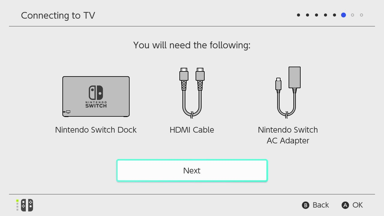 set up the nintendo switch dock as seen on the screen and select next  [ 1280 x 720 Pixel ]