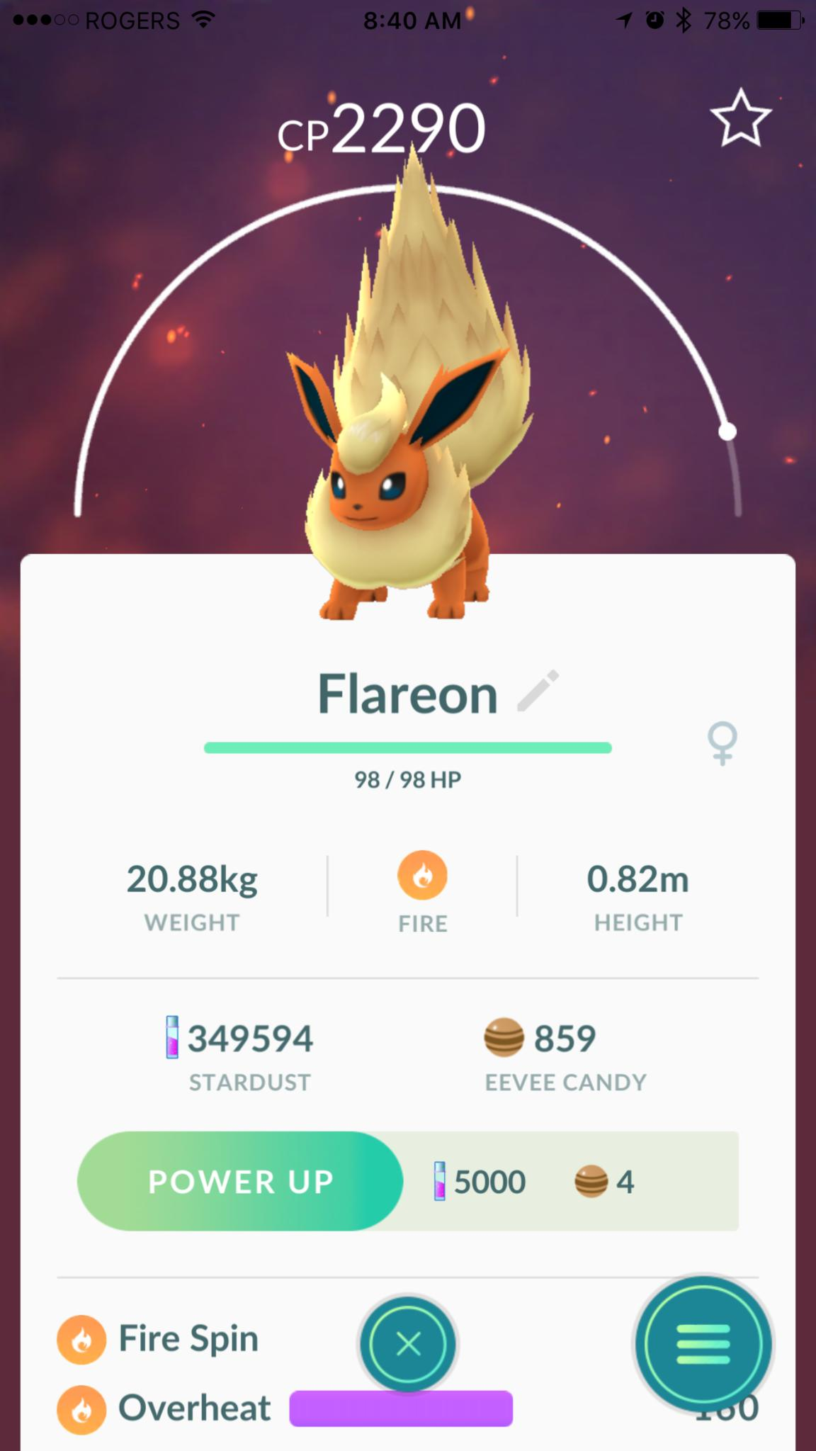 Flareon was all but forgotten thanks to the big fire type depowering nerfing of late with advent blissey though   powerful overheat also pokemon go how control eevee evolution for umbreon espeon rh imore