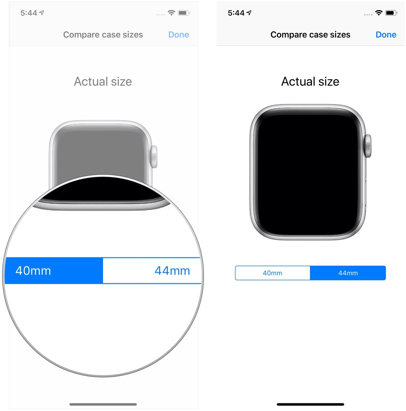Tap mm or mm put phone on wrist also how to virtually try both apple watch sizes with the rh imore