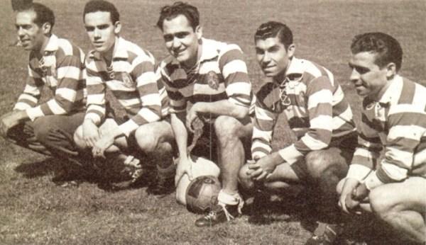 Os músicos da boal do Sporting: Jesus Correia, Vasques, Peyroteo, Travassos e Albano.