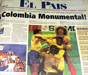 A alegria nos jornais colombianos...