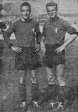 Loik e Mazzola com a camisa da Itália em 1942.