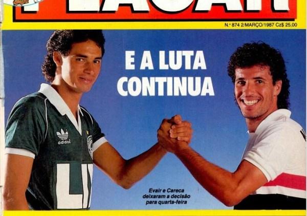 Evair e Careca: dupla dominou a artilharia do Brasileirão de 1986.