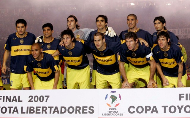 Boca Juniors team celebrate after winning the Copa Libertadores final game
