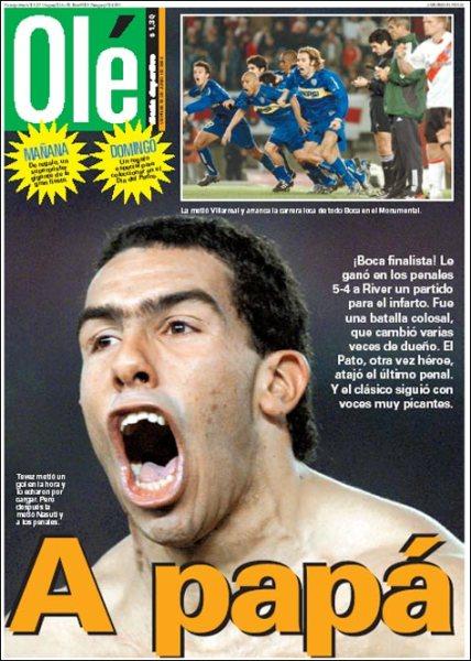"O diário ""Olé"" do dia seguinte: só deu Boca. E só deu Tévez."