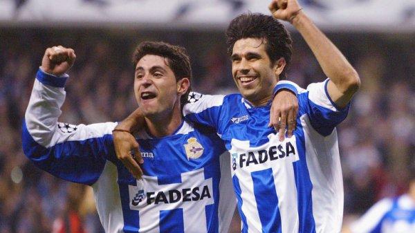 Víctor e Valerón, estrelas do Deportivo na era continental da equipe.