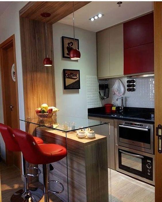 Como decorar apartamento pequeno com cozinha americana