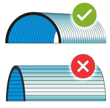 Cara pasang polycarbonate - Pemasangan mengikuti arah lengkungan (kubah)