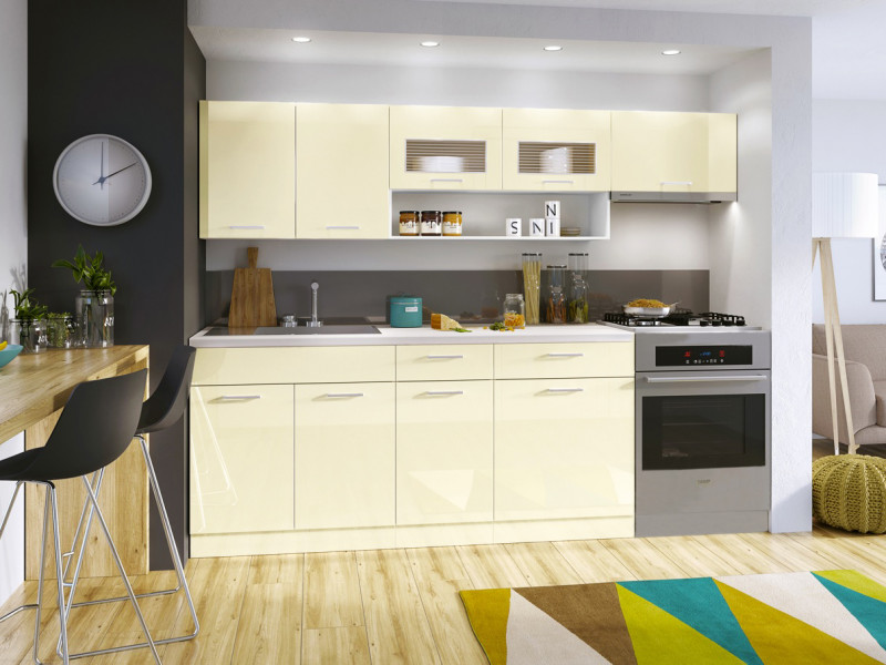 kitchen cabinets set cabinet handles and knobs free standing white cream gloss cupboards 6 units modern luxe