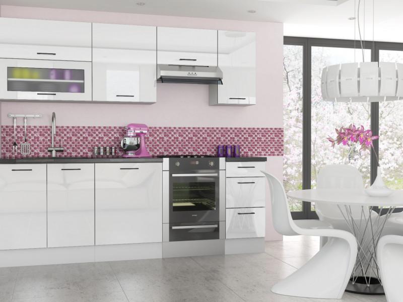 kitchen cabinets set composting free standing white gloss cupboards 7 units roxi 7unitset