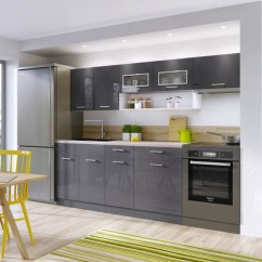 Kitchen Cabinet Set Kitchens With Granite Countertops Free Standing White Grey Gloss Cabinets Cupboards 6 Units Impact Furniture