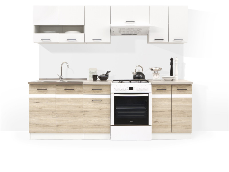 kitchen cabinets set cast iron stove free standing white gloss oak cupboards 7 units impact furniture