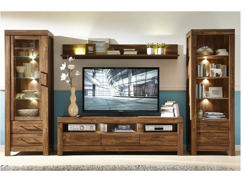 Modern 4 Piece Living Room Furniture Set Storage Display Bookcase Unit Led Lights Oak Impact Furniture