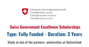 Fully Funded Swiss Government Scholarship 2021/2022