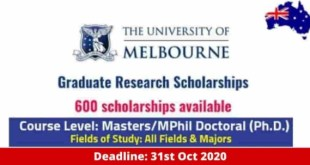 Graduate Research Scholarships at the University of Melbourne, Australia