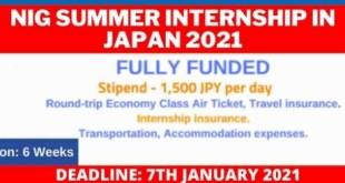 Fully Funded NIG Summer Internship in Japan 2021