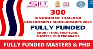 300 Scholarships in Thailand 2021