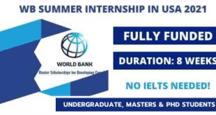 Fully Funded World Bank Summer Internship 2021