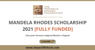 Mandela Rhodes Scholarship for Young African's