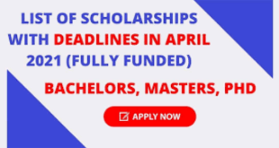 Scholarships with Deadlines in April 2021