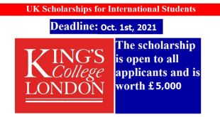 Funded Kings College London Scholarship 2021/2022