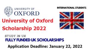 Study in UK | University of Oxford Scholarship 2022