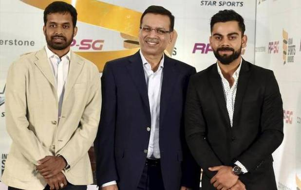 National Badminton coach Pullela Gopichand, Sanjiv Goenka, Indian cricket team skipper Virat Kohli