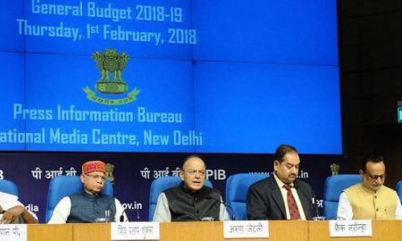 The Union Minister for Finance and Corporate Affairs, Arun Jaitley, (third from left) addressing a Post Budget Press Conference [image courtesy: PIB]