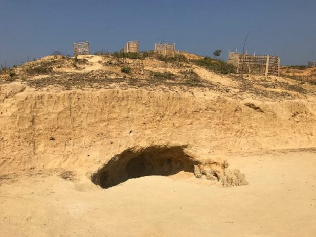 Even before advent of the rainy season starting in mid-April, the earthen hills start caving in, posing a great danger [image by: Kamran Reza Chowdhury]