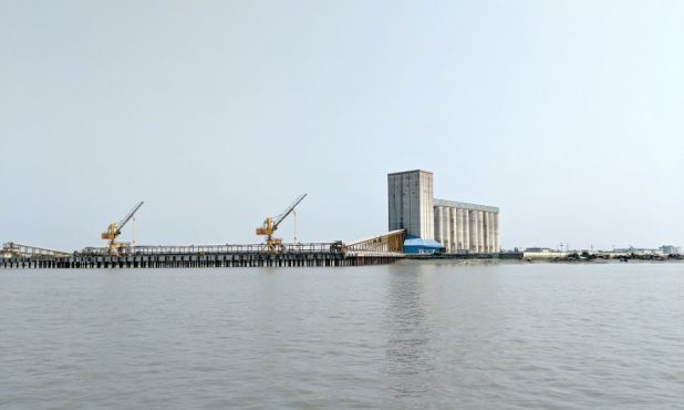 A giant grain silo near Mongla port [image by: Soumya Sarkar]
