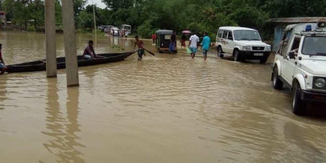 Large areas remain inundated [image by: Madhav Bhattacharya]