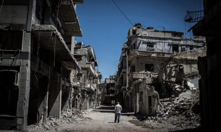 The Syrian conflict, often seen as the first climate change induced war, has led to greater scrutiny of the links between climate change and conflicts [image by: Chaoyue PAN / FLICKR]