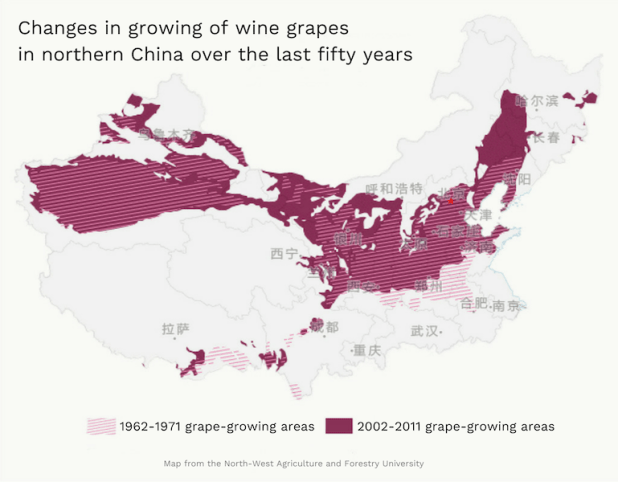 Climate change has made more of northern China suitable for cultivation of wine grapes. According to research by North-West Agriculture and Forestry University, the zones suitable for growing wine grapes have moved into the north-west and north-east, with northern Xinjiang, Heilongjiang, Jilin and Inner Mongolia now producing wines