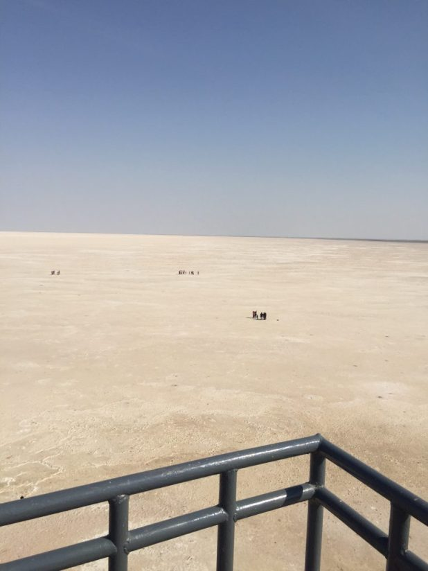View of the White Desert towards Pakistan from the platform in Dhordo, Gujarat.