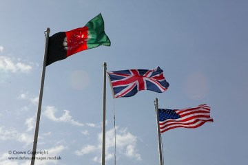 Afghan, British and American Flags