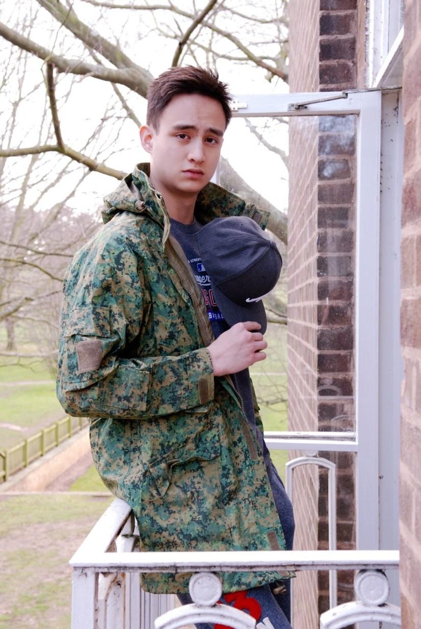 Aaron wears Shirt; Jacket: Braderie; Pants: model's own