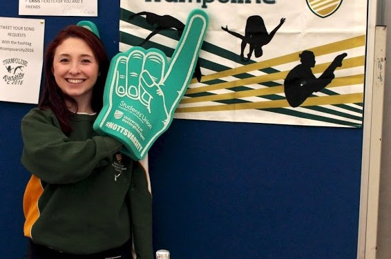 Foam-Fingers galore at the Trampoline event!