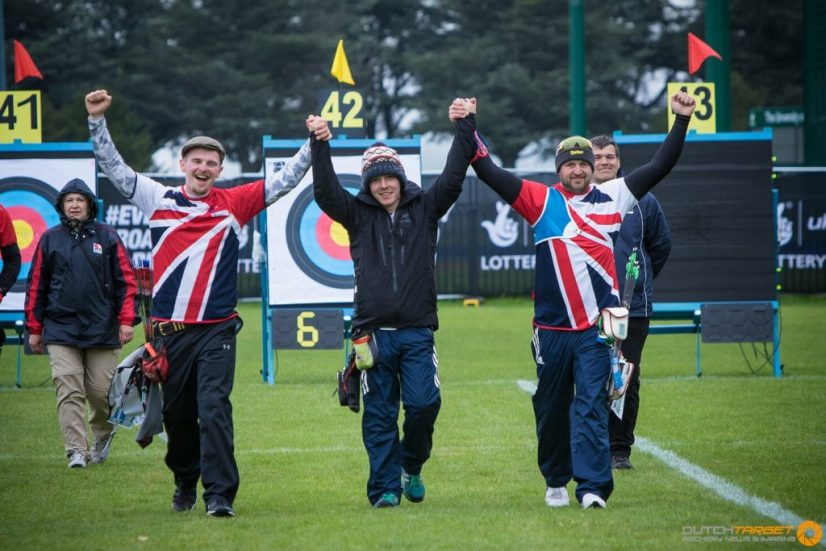 The men's recurve team celebrate gaining their place at the gold medal match at the European Archery Championship.