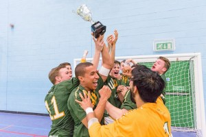 UoN Futsal squad celebrate their Varsity win over Nottingham Trent in May
