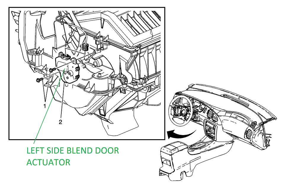 2009 Chevrolet Impala Blend Door Diagram
