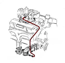 1963-64 FUEL PUMP TO CARB LINE, 409/340 CHROME (EA)