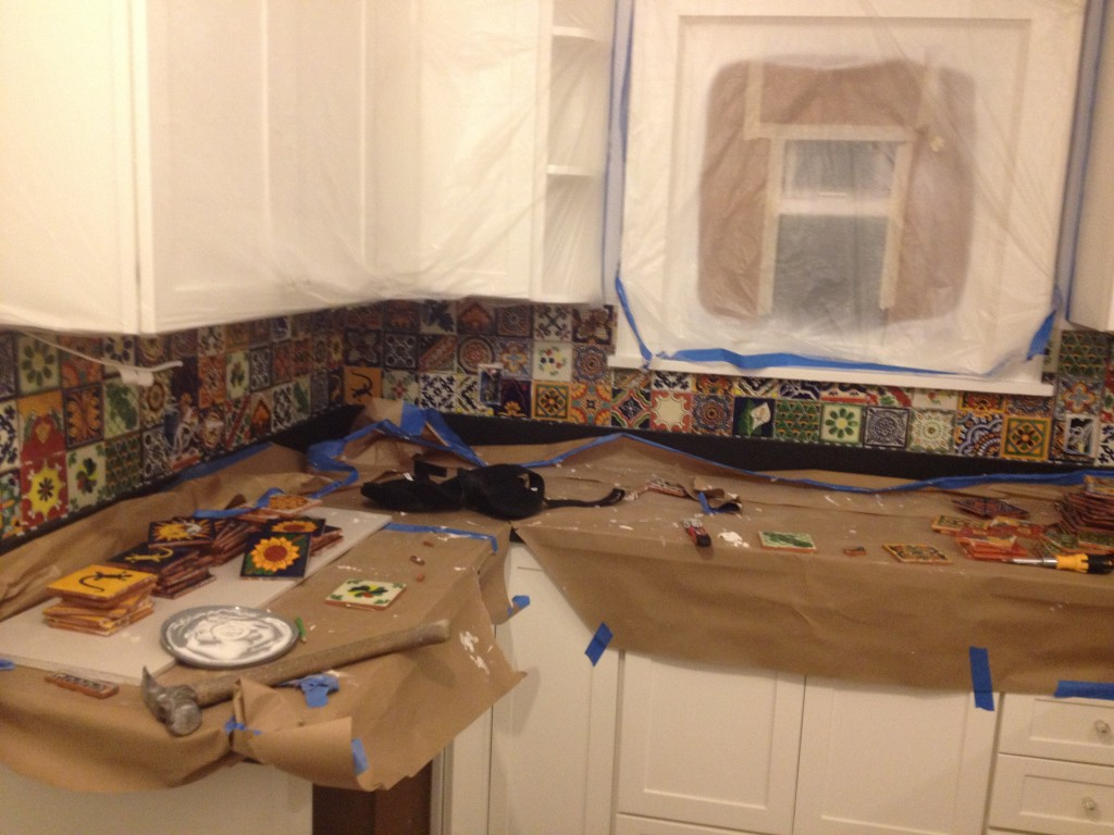 mexican backsplash tiles kitchen island with range top eclectic mixed talavera tile