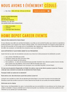 Home Depot - hiring event en fr
