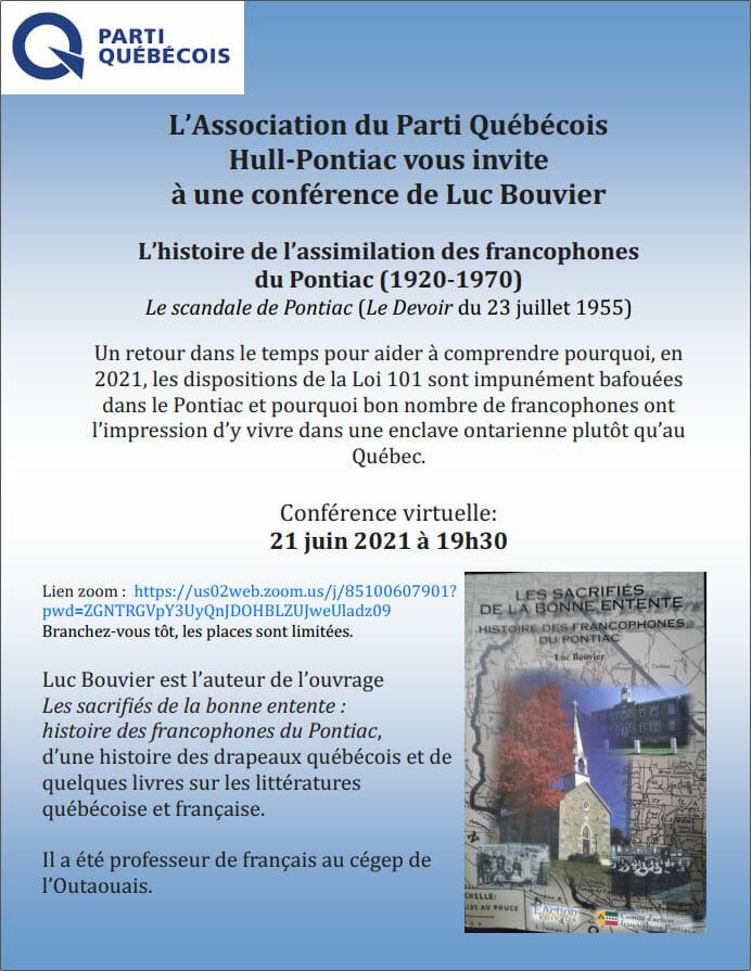 PQ Invitation Conférence de Luc Bouvier Francophones du Pontiac 21 juin 2021