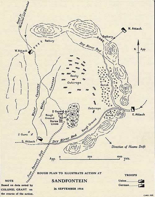 Map of action at Sandfontein on 26 September 1914
