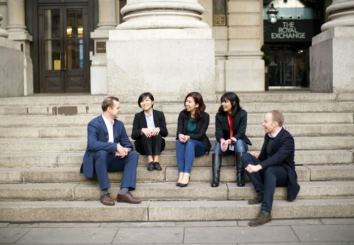 MBA students outside London's Royal Exchange