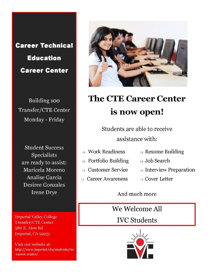 CTE CAREER CENTER IS NOW OPEN  Student News  News  Imperial Valley College